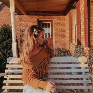 Sweaters - Off shoulder fringe sweater